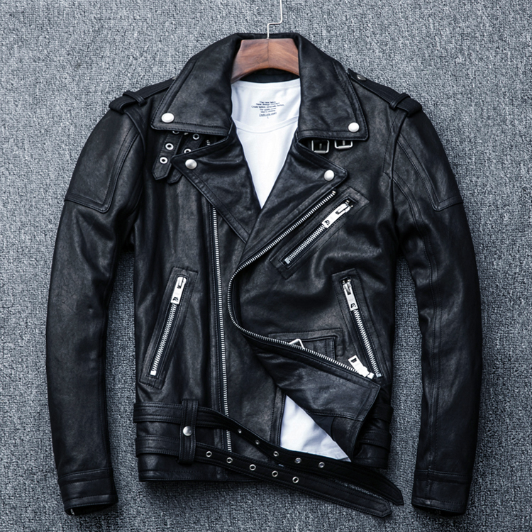 HTB1jJhVFKuSBuNjSsziq6zq8pXat MAPLESTEED 100% Natural Sheepskin Tanned Leather Jacket Black Soft Men's Motocycle Jackets Motor Clothing Biker Coat Autumn M111