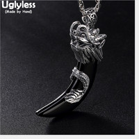 Uglyless Real Solid 925 Sterling Silver Handmade Dragon Pendants for Men Cool Chalcedony Tooth Necklaces NO Chains Thai Silver