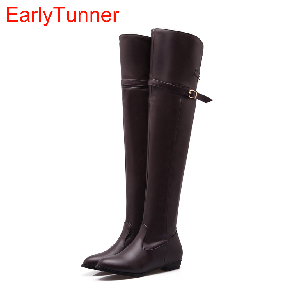 New Winter Women Over the Knee Thigh High Boots Sweet Black Brown Ladies Shoes A181H Plus Big Size 45 10 11 Warm Fur new winter women over the knee thigh high boots sweet black brown ladies shoes a181h plus big size 45 10 11 warm fur