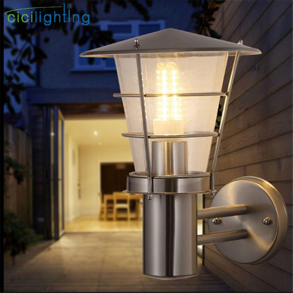 Modern Stainless steel wall lamp outdoor waterproof rust-proof LED wall lamp protective LED balcony garden courtyard lighting waterproof explosion proof wall lamp moisture proof balcony garden lights for bedroom balcony outdoor lighting e27