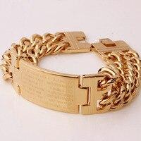 e8c88052ad4c Men S Religious Gold Pure Stainless Steel Spanish Bible Cross ID Double Row  Chain Bracelet 23mm. Pulsera de cadena ...