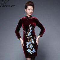 Wmwmnu Women Autumn Winter Embroidery Velvet Dress Wine Red Bodycon Dress Fall Women Clothing 2017 Vintage