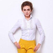 Women Shirt Tops Body-Blouse Long-Sleeve White Elegant Formal OL Violet Ruoru Pleated