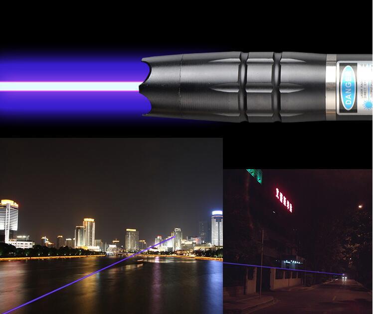 Haute puissance Militaire pointeur Laser Bleu 1000 W 1000000 m 450nm lampe de Poche allumette/bois sec/bougie/ noir/Cigarettes + 5 cap
