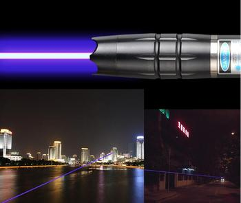 High powered Military Blue Laser pointer 1000W 1000000m 450nm Flashlight Burning match/dry wood/candle/black/Cigarettes+5 cap