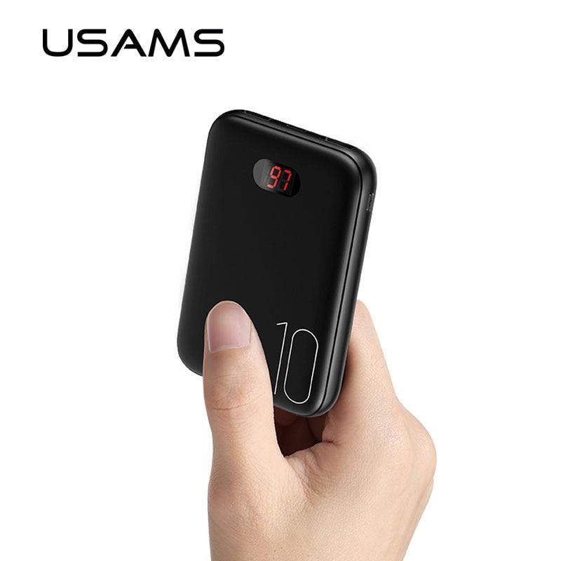 USAMS 10000mah Mini Power Bank Dual USB Powerbank Portable Phone Chargers External Battery USB Charger banks wit LED light