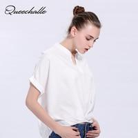 Red White Big Size Shirts 2017 Summer Solid V Neck Short Sleeve Slim Women Blouse L