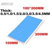 ARSYLID Высокое качество 100*200*1,0/2,0/4,5 мм Термальность проводимость 3,6 W Процессор радиатор охлаждения Проводящий силиконовый коврик Термальность тормозные колодки