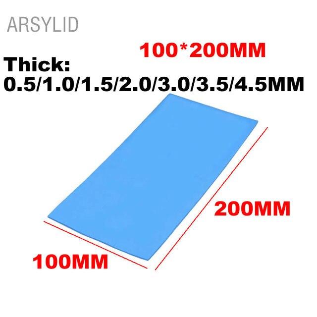 ARSYLID Высокое качество 100*200*1,0/2,0/4,5 мм Термальность проводимость 3,6 W Процессор радиатор охлаждения Проводящий силиконовый коврик прокладки для отвода тепла