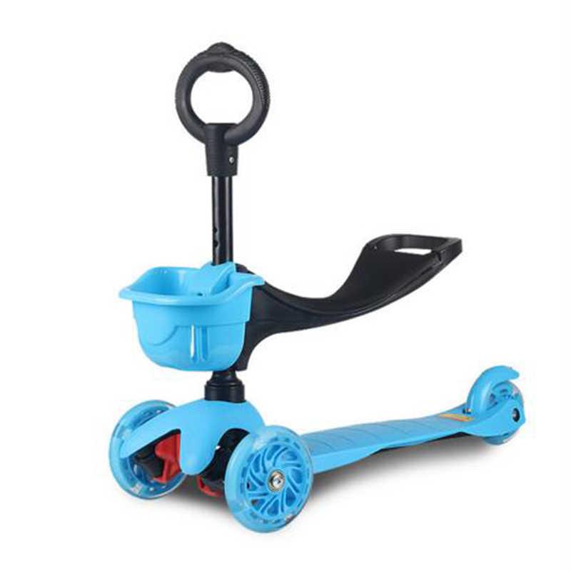 Anak Bayi Anak Skuter 3in1 Pu 3 Roda Berkedip Multi-Funcswing Mengangkat Mobil 2-15 Tahun Bayi kereta Dorong Naik Sepeda Kendaraan