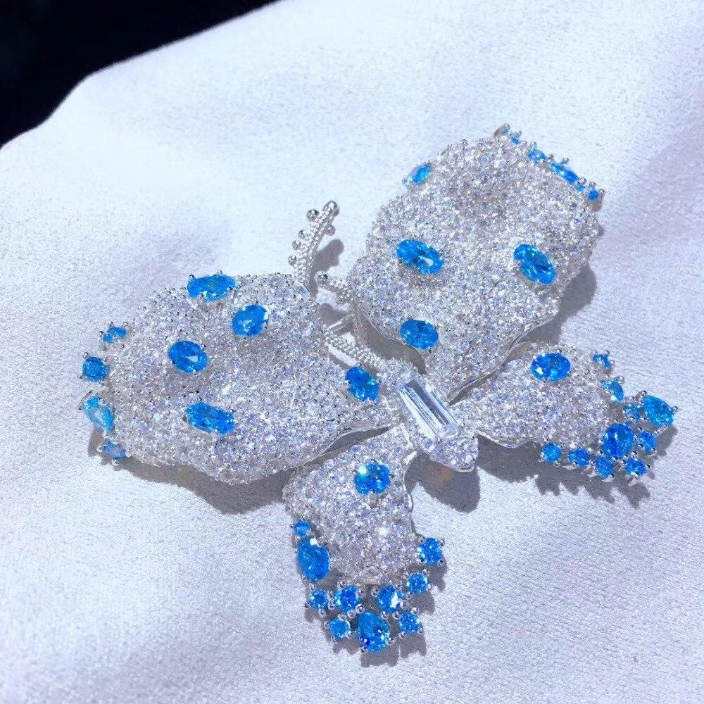 Insecte grande broche papillon broches fines femmes bijoux 925 en argent sterling blanc et bleu couleur mélangée 43*60 MM livraison gratuite