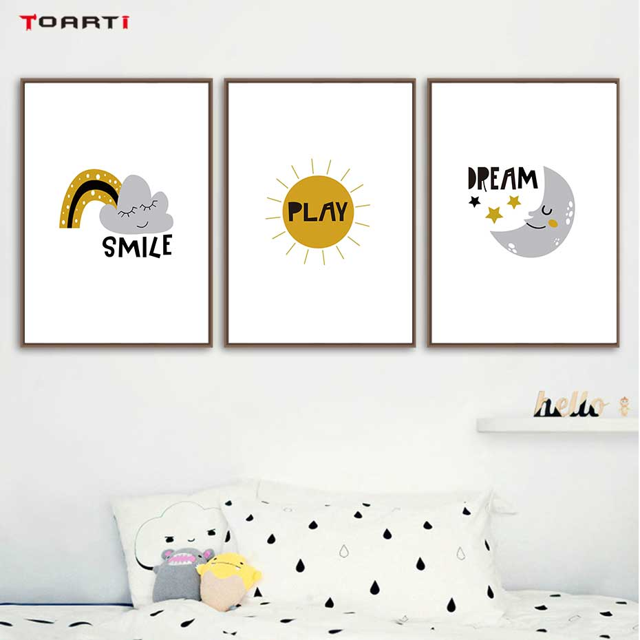 Image 3 - Cartoons Children Prints Posters Rainbow Moon Clouds Canvas Painting On The Wall Sun Art Picture For Baby Kids Bedroom Home Deco-in Painting & Calligraphy from Home & Garden