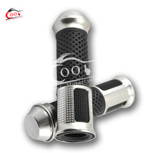 Universal 7/8″ Motorcycle Bike Silver Rubber Handlebar Hand Grips with Bar Ends Caps
