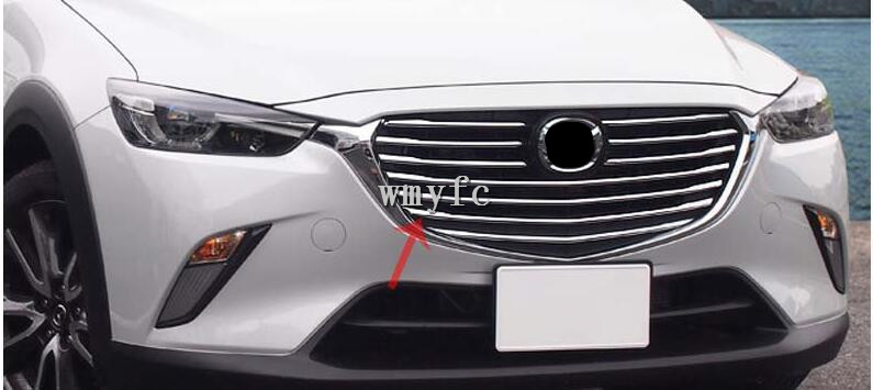 10pcs For <font><b>Mazda</b></font> CX-3 <font><b>CX3</b></font> 2016 2017 2018 Car Styling Front Grille Grill Molding Cover Trim Bezel <font><b>Accessories</b></font> Bright Silver image