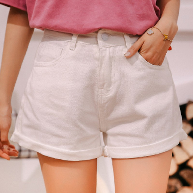 Korean Crimping Women's Shorts College Style Solid Color Loose Denim Shorts Women Minimalism Summer Jeans Short Pants Women