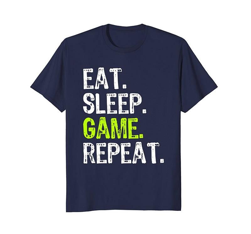 T Shirt Company MenS Short Sleeve Printed Crew Neck Eat Sleep Game Repeat Tee