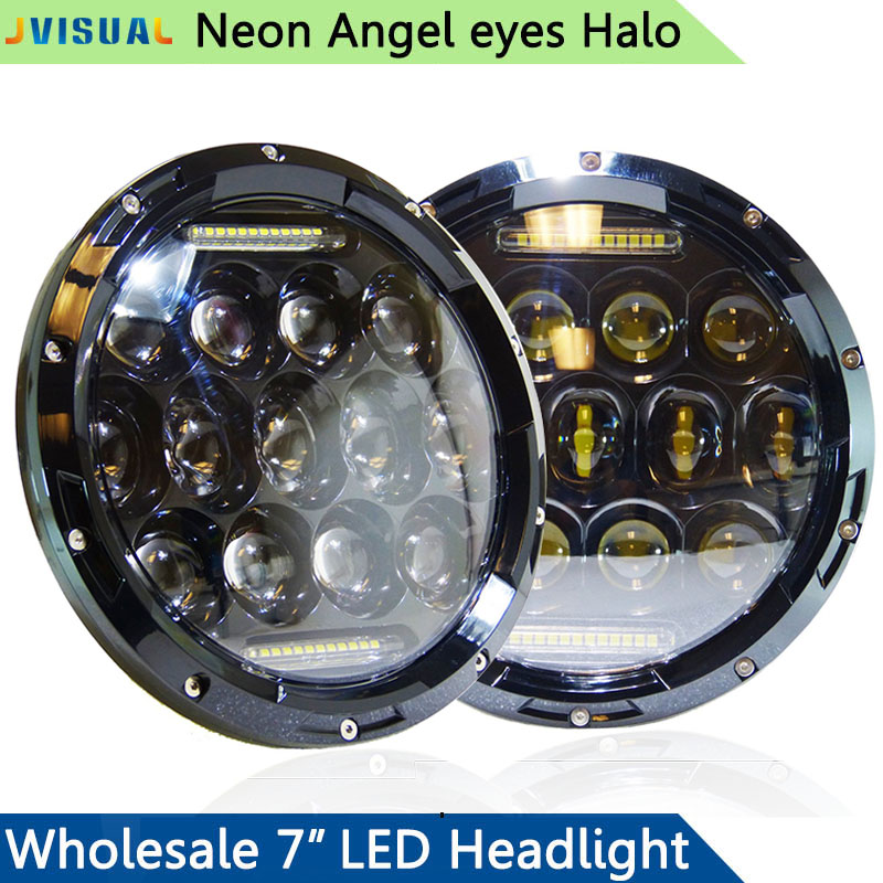 цена на 7 Projector Lens Headlights 7 Inch 75W Led Headlamp Bulb DRL Fit For Jeep wrangler Jk Tj lada niva 4x4 Hummer