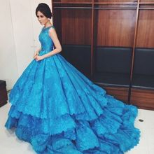 2016 New Arrival Blue Gorgeous Lace Applique Beading Tulle Layers Ball Gown Long Prom Pageant Dresses