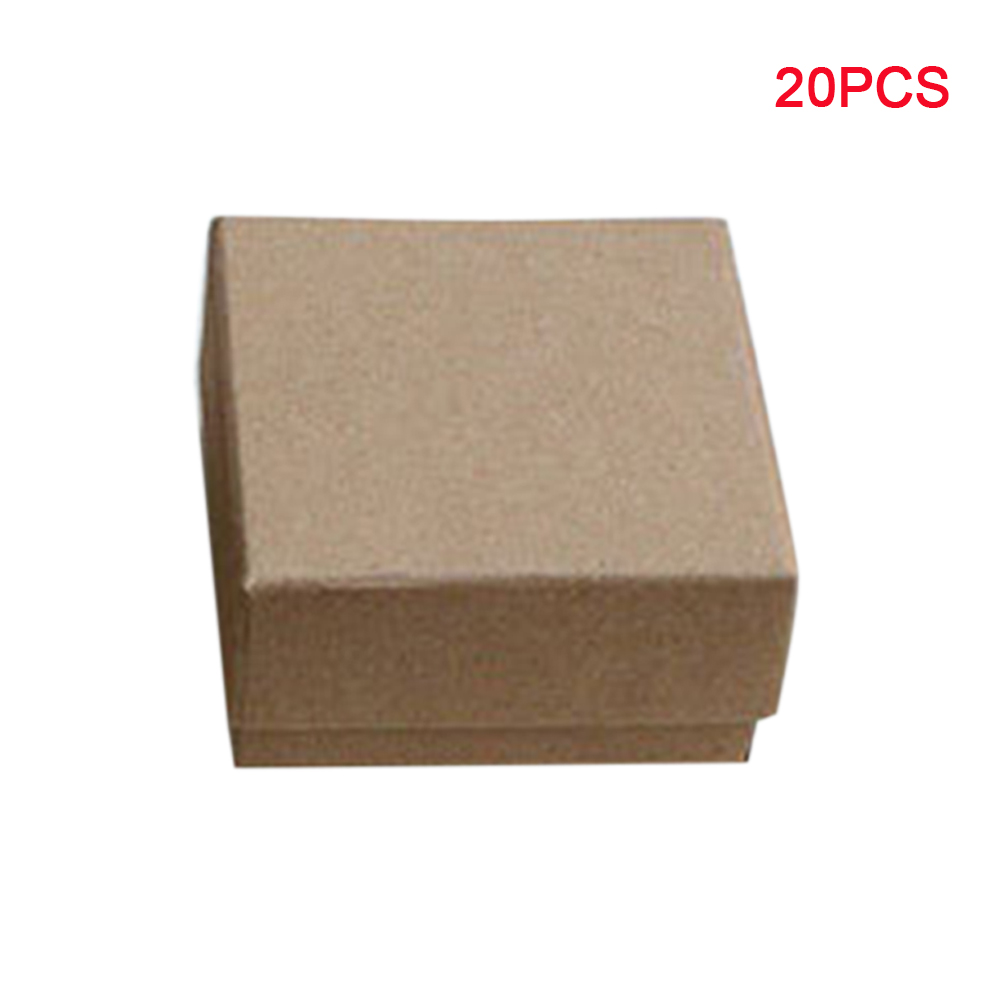 20pcs Exquisite Jewelry Box Storage With Lids Holder Vintage Case Package Paper Necklace Gifts Display Small Ring Brown