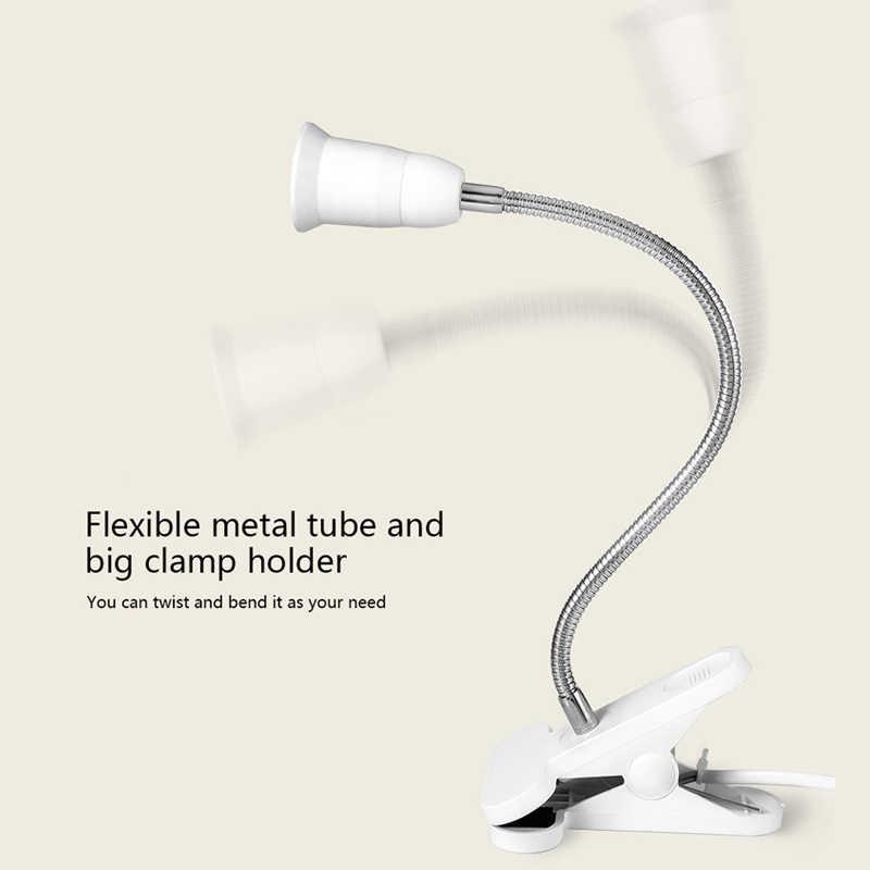 Flexible Wire Neck Desk Lamp Socker Clip Holder Switch for E27 400MM QJ888