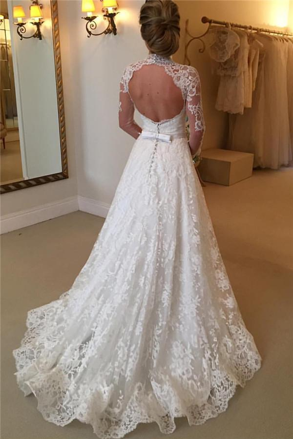 2019 New Sheer High Neck Lace Wedding Dresses Long Sleeves Princess Formal Bridal Gowns with Keyhole Back - 3
