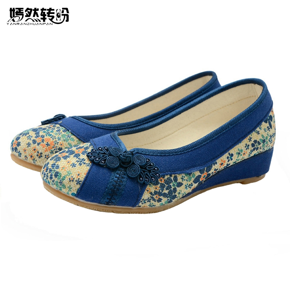 Vintage Embroidered Women Flat Shoes Platform Canvas Walking Soft Shoes Woman Dance Ballerinas Casual Flats Size 34-40 vintage women flats chinese fashion beads embroidered casual canvas shoes slip on shoes for woman white shoes