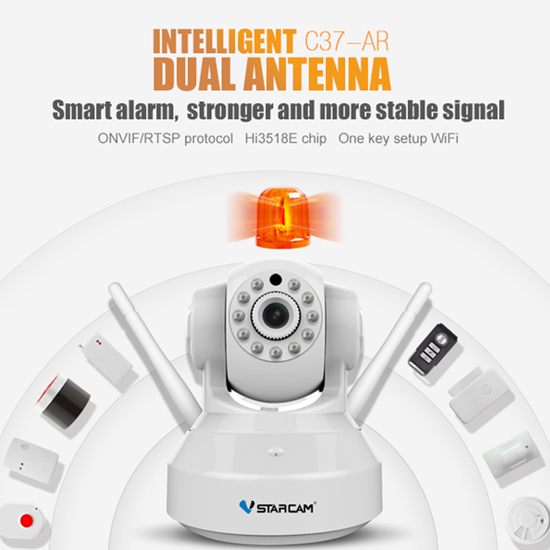 VStarcam C37-AR Wireless HD Alarm IP Security Camera WiFi Two Way Audio Recording Infrared Add Door/PIR Sensor CCTV Alarm SystemVStarcam C37-AR Wireless HD Alarm IP Security Camera WiFi Two Way Audio Recording Infrared Add Door/PIR Sensor CCTV Alarm System