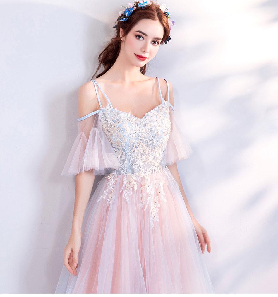 Elegant Off The Shoulder Tulle Long Bridesmaid Dress 4