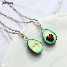 Julie Wang 1pc Alloy Avocado Heart Shape Necklace Pendant Polymer Clay Charms Long Chain Women Fashion Statement Gift
