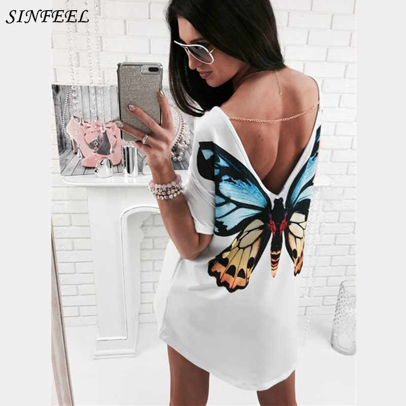 Sinfeel 2017 Robes d'été Blanc Impression 3D Chat Papillon Sexy Dos V Chemise Robe Femmes Casual robes mujer grande taille 2xl