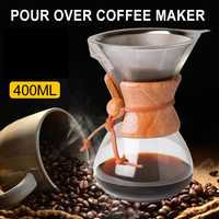 400ml High-temperature Resistant Glass Coffee Maker Manual Coffee Pot With Stainless Steel Filter Pot Teacups For Family Office