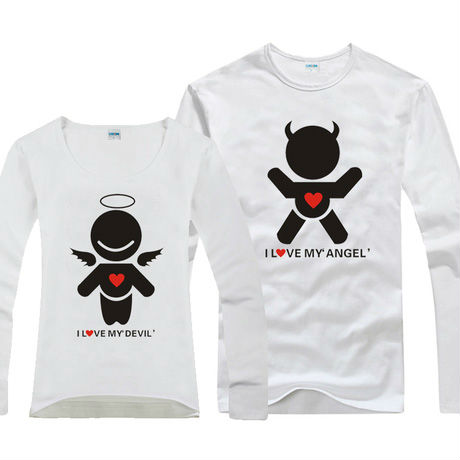 33d31ade Free Shipping T-shirt Creative love angel devil Shirt cool funny lovely  kids couple