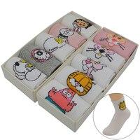 10 Pair Set White Harajuku Kawaii Women Socks Cotton Cute Cartoon Fashion Girls Short Funny Socks