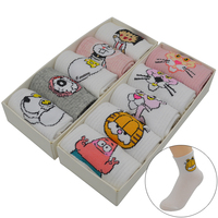10 Pair/set White Harajuku Kawaii Women Socks Cotton Cute Cartoon Fashion Girls Short Funny Socks with Gift Box