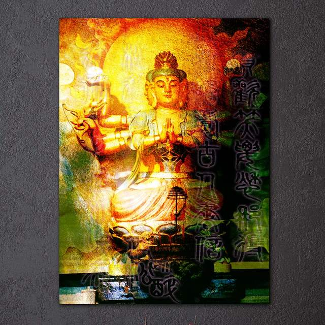 Enchanting Large Buddha Wall Decor Composition - Wall Painting Ideas ...