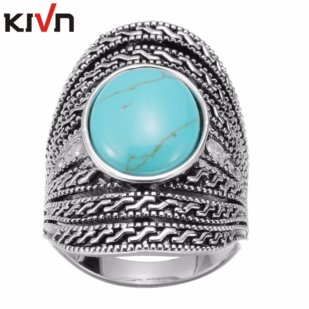 KIVN Fashion Jewelry Indian Filigree Blue Stone CZ Antique Vintage Womens Girls Wedding Bridal Engagement Rings Birthday Gifts