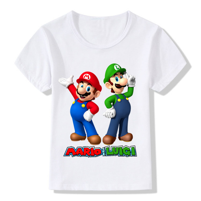 Cartoon Super Mario With Luigi Children Funny T-shirt Baby Boys Girls Summer Casual Tops T Shirt Kids Clothes,ooo5175