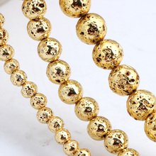 Olingart Natural Volcanic Rock Stone Plating gold Round Beads 4MM 80pcs/6MM 60pcs/8MM 35pcs DIY Necklace/bracelet Jewelry Making