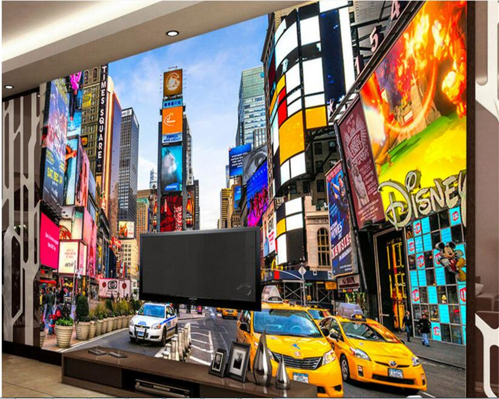 Beibehang Advanced Sound Proof Wallpaper Modern Street View Building Times  Square TV Background Wall Papel De Parede 3d Tapety In Wallpapers From Home  ... Part 40
