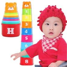 9 шт. мини медведь стек чашки Развивающие детские игрушки цвета радуги фигурки складные башни забавные стопки чашки буквы игрушки для детей FZH