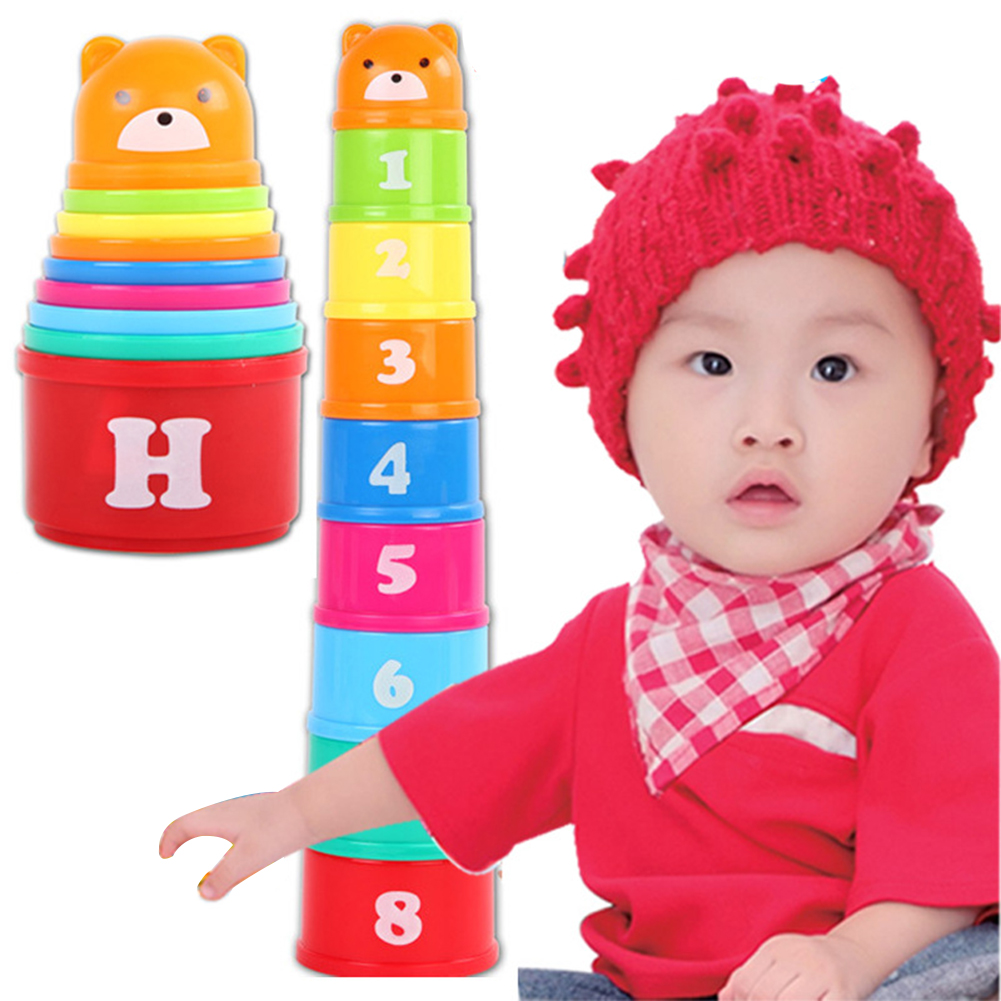9PCS Mini Bear Stack Cup  Educational Baby Toys Rainbow Color Figures Folding Tower Funny Piles Cup Letter Toy For Kids FZH