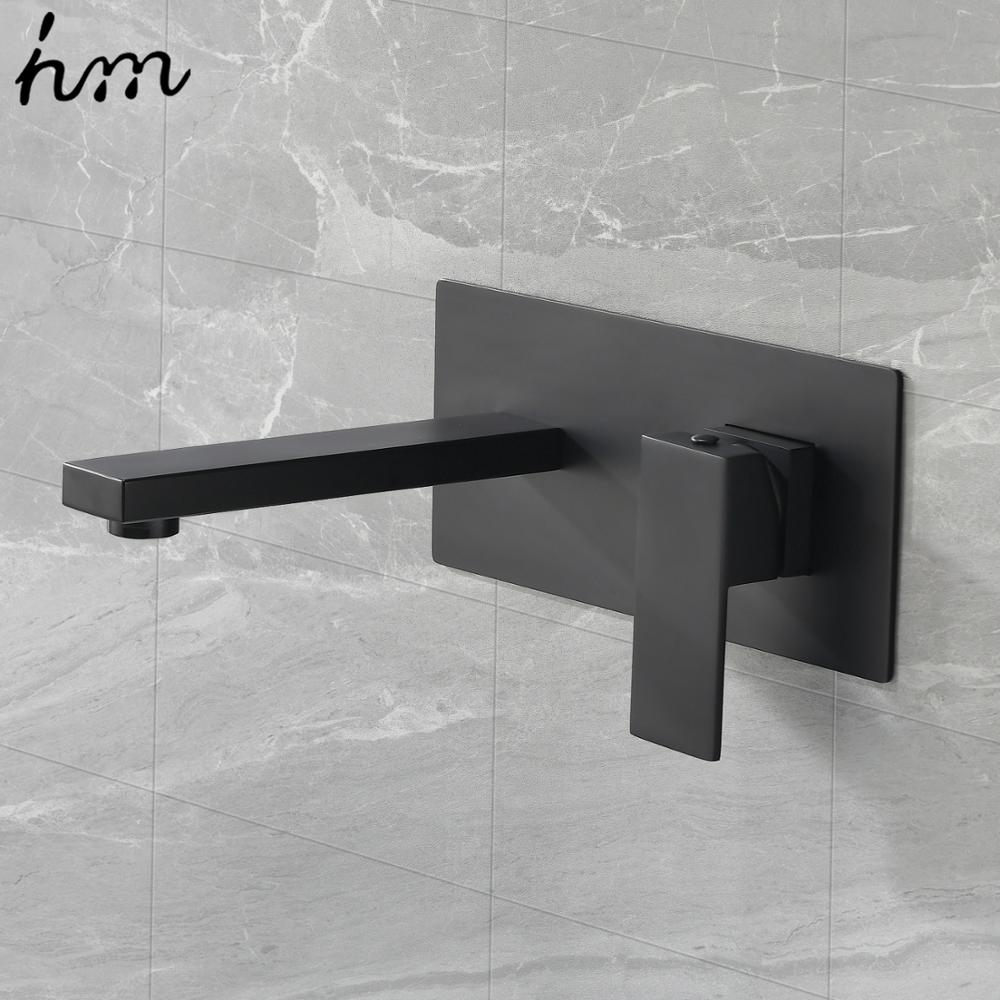 Hot DealsÉHm Basin Faucet Wall-Mounted Bathroom Black Mixer Brass Single-Handle Cold Hot Tap-Set
