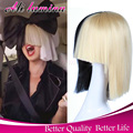 Short Two Tone Half Platinum Blonde And Black Straight Cosplay Sia Alive This Is Acting Halloween Costumes For Women's Bob Wig