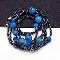 De alta calidad de la piedra natural bolas de cristal collares largos para las mujeres accesorios de la joyería de declaración de moda vestido de fiesta