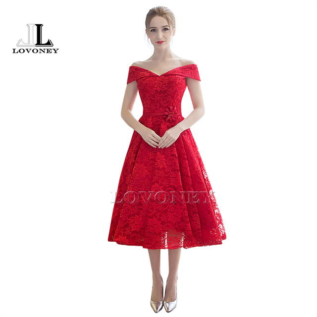 Red Short Lace Prom Dress
