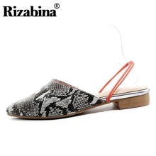 RIZABINA Women Genuine Leather Sandals Fashion Flats Summer Shoes Casual Outdoot Slippers Sexy Lady Footwear Size 33-43