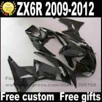 Plastic Fairing kit for Kawasaki ZX6R 2009 2012 Ninja 636 all glossy black fairings bodywork set ZX 6R 09 10 11 12 BL44