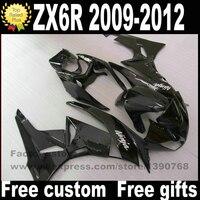 Plastic Fairing kit for Kawasaki ZX6R 2009 2012 Ninja 636 all glossy black fairings bodywork set ZX 6R 09 10 11 12 BL44
