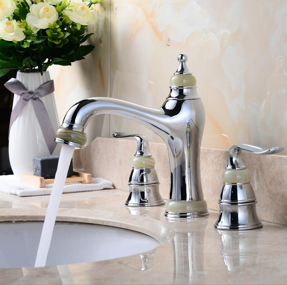 Luxury 8 Inch Widespread Basin Faucet Brass And Jade