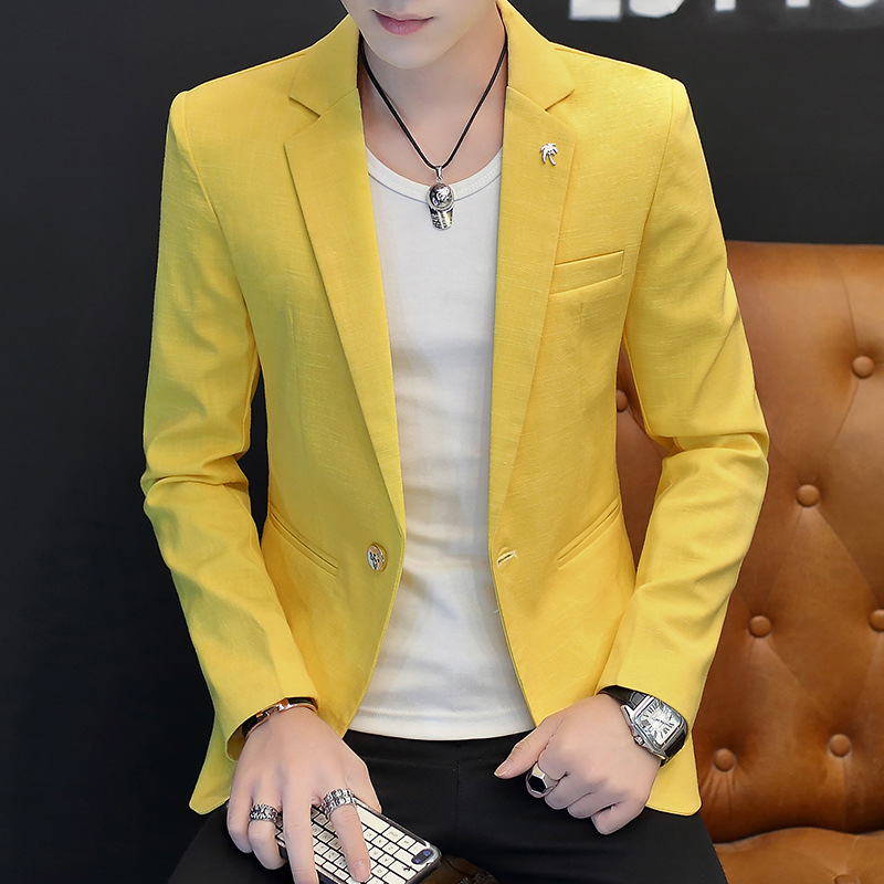HOHO 2020 Bamboo Cotton Men's Leisure Small Blazer In The Spring Of The New Solid Color Blazer